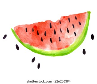 Watercolor illustration of watermelon on texture paper. Vector illustration.