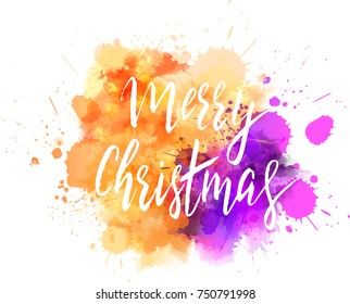 "Watercolor imitation background with handwritten modern calligraphy message ""Merry Christmas"". Holiday abstract art. Vector illustration."