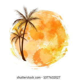 Watercolor imitation grunge orange brushed round background. Abstract palm trees. Travel concept.
