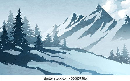 Watercolor imitation illustration. Winter mountains landscape, trees, sky.