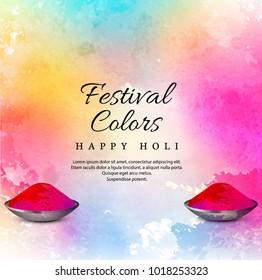 "Watercolor imitation multicolored background with ""Happy Holi"" festival design"