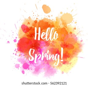 Watercolor imitation splash background with Hello spring message