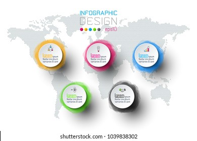 Watercolor infographic with the world map.