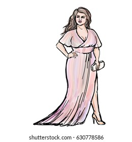 Watercolor and ink style fashion sketch of plus size model in evening gown. Curvy confident woman posing in long dress. EPS 10 format