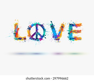 """Watercolor inscription """"love"""" with the sign of peace. Vector"""