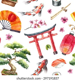 Watercolor Japan pattern. Seamless texture with hand drawn elements: Torii gate,bonsai,koi fish,sakura,japanese fan and lantern,sushi and chopstick. Vector illustration