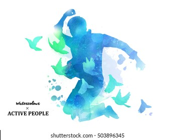 Watercolor jumping silhouette, young boy jumping with pigeons around him in watercolor style. Blue tone.
