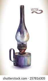 Watercolor  kerosene lamp. Vintage  lantern.