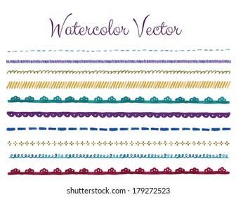 Watercolor Lace Border Vector