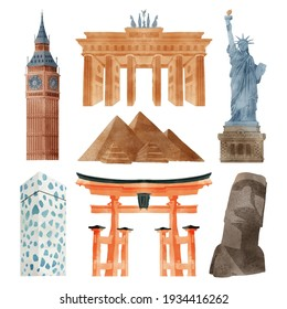 Watercolor landmarks collection Vector illustration.