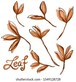 Watercolor Leaf Stem Vector Motif Icon Set. Collection of Hand Painted Leaves   Illustration in Loose Line Art Doodle Style. Autumn Fall Season Colors. Repeat Isolated with Leaf Lettering Text EPS10