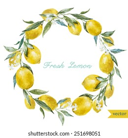watercolor, lemon, wreath frame