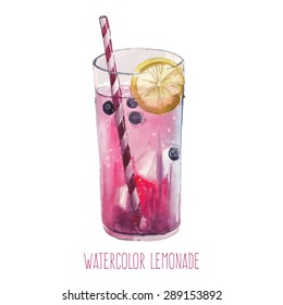 Watercolor lemonade with lemon, ice and blueberry. Hand drawn isolated summer drink glass on white background. Artistic vector illustration.