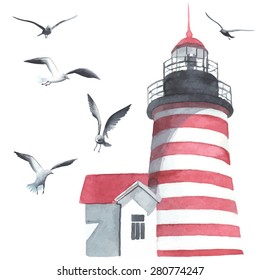 Watercolor lighthouse and seagulls made in vector
