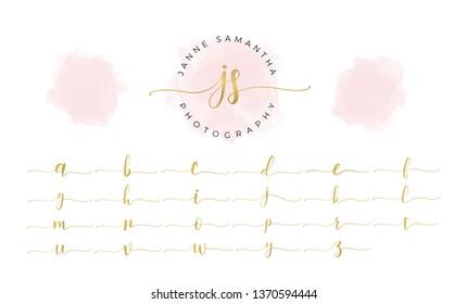 Watercolor logo branding with Golden initials, Pink blush, Feminine luxury logo  design template - Vector