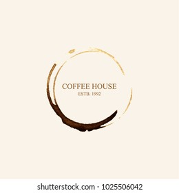 Watercolor logo for coffee house in form of coffee stains isolated on light beige background. Vector illustration EPS10.
