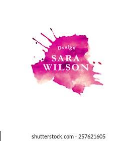 Watercolor logo   Premade logo   Custom logo   Branding company   Drop logo design   purple color