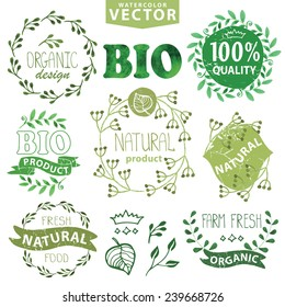 Watercolor logo set.Badges,labels,green branches,floral elements,wreaths ,leaves,laurels.Organic,bio,eco,natural design,ecology design template,logotypes.Hand drawing painting texture.Vintage vector