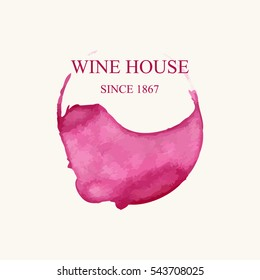 Watercolor logo for wine house in form of wine stains isolated on light beige background. Vector illustration EPS10.