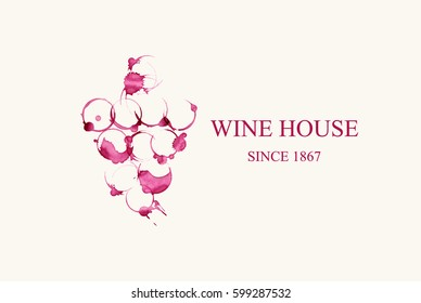 Watercolor logo for wine house in forme of grape vines make from wine stains isolated on light beige background. Vector illustration EPS10.