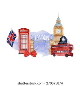 Watercolor London banner. Label with hand drawn elements: policeman helmet, Big Ben clock, flag of Great Britain, tower bridge, red bus, Tower bridge, red phone booth. English capital signs