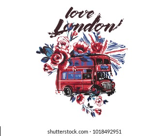 Watercolor London Bus, flag, flowers vector illustration design. Retro british grunge graphic for textile design or t-shirt print. Isolated elements on white background