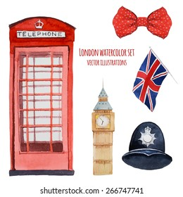 Watercolor London objects. Set of hand drawn elements: red phone booth, Big Ben clock, flag of Great Britain, the helmet of policeman, butterfly modern gentleman with polka dot. English capital signs