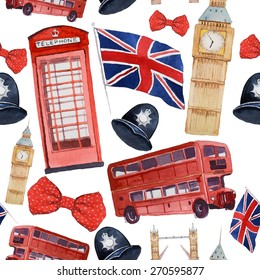 Watercolor London pattern. Seamless texture with hand drawn elements: red phone booth, Big Ben clock, flag of Great Britain, helmet of policeman, bow tie with polka dot, policeman helmet, red bus