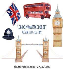 Watercolor London set. Vector hand drawn elements: policeman helmet, Big Ben clock, flag of Great Britain, tower bridge, Tower bridge, red bus. English capital signs icons