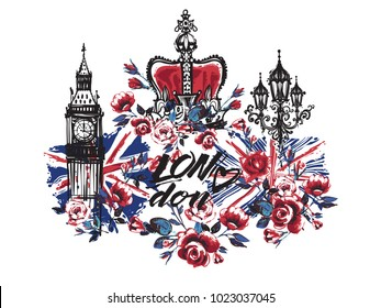 Watercolor London vector illustration collection Big Ben, crown, flowers. Retro british grunge graphic for textile design or t-shirt print. Isolated elements on white background