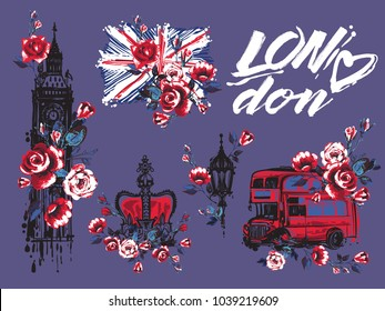 Watercolor London vector illustration collection. Retro british grunge graphic for textile design or t-shirt print. Isolated elements on ultra violet background