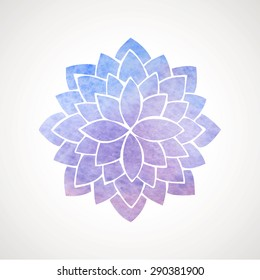Watercolor lotus flower in blue and violet colors. Symbol of india, oriental practices, yoga, meditation. Vector decorative element. Logo template