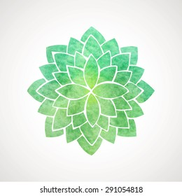 Watercolor lotus flower in green color. Symbol of oriental indian practices, yoga, meditation, spa, health. Vector decorative element. Logo template