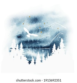 Watercolor magic vector landscape in blue, golden and white colors. Forest, lake, mountains and owl under night sky. Hand drawn illustration. Design of a t-shirt, postcard, poster, bag