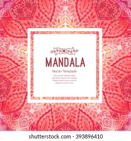 Watercolor mandala, square background. Decor for your design, lace ornament in form of round corner in oriental style.