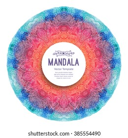 Watercolor mandala, vector. Decor for your design, lace ornament. Round pattern, oriental style