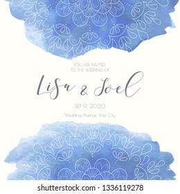 Watercolor mandala wedding invitation template. Vector illustration