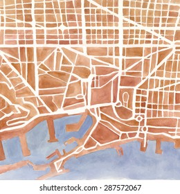 Watercolor map of the city. Background for your design