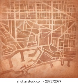 Watercolor map of the city on vintage background.