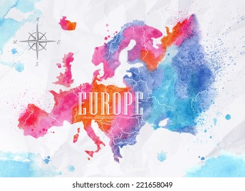 Watercolor map of Europe in pink and blue colors on a background of crumpled paper