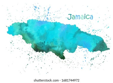 Watercolor map of Jamaica island. Stylized image with spots and splashes of paint. Vector illustration