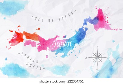 Watercolor map of Japan in pink and blue colors on a background of crumpled paper