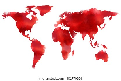 watercolor map in red tone, Elements of this image furnished by NASA