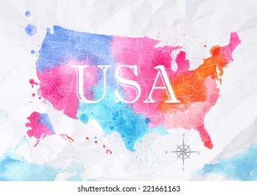Watercolor map of United States in pink and blue colors on a background of crumpled paper