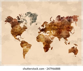 Watercolor map of the world, brown color, retro vintage style, vector art illustration.