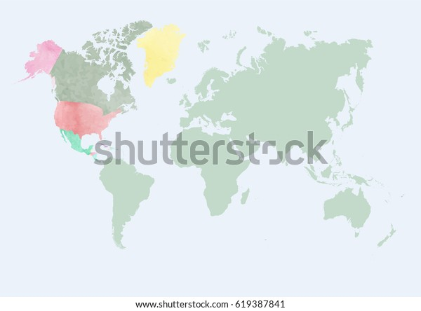Watercolor Map World Countries Watercolor Effect Stock ...
