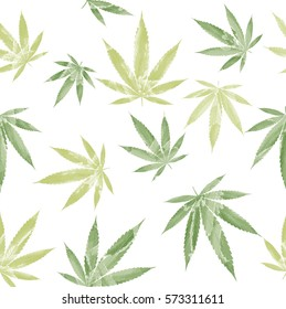Watercolor marijuana seamless background. Cannabis pattern.