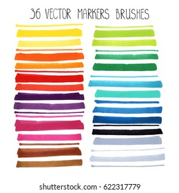 Watercolor Markers brush strokes,highlighter Vector texture,line border.Colorful hand drawing artistic painting art. Bright design template.Summer decor elements.