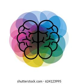 watercolor mental health brain art icon