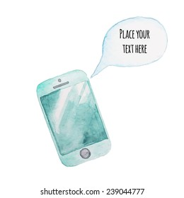 Watercolor mobile phone with speaking bubble. Communication hand drawn illustration